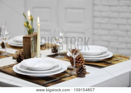 Beautiful table setting with natural eco materials