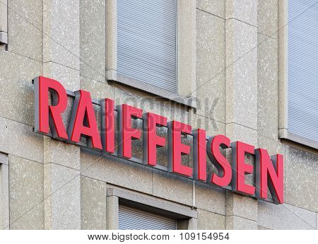 Raiffeisen Sign On A Building Wall