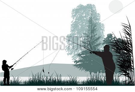illustration with fishermen in rush isolated on white background