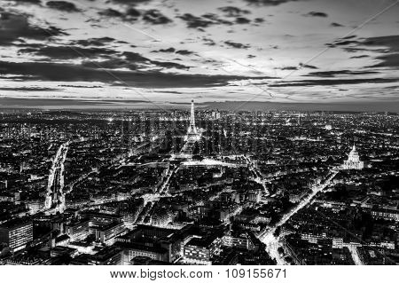 Paris, France skyline, panorama at sunset, young night. View on Eiffel Tower in black and white