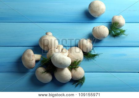 Mushrooms on color wooden surface
