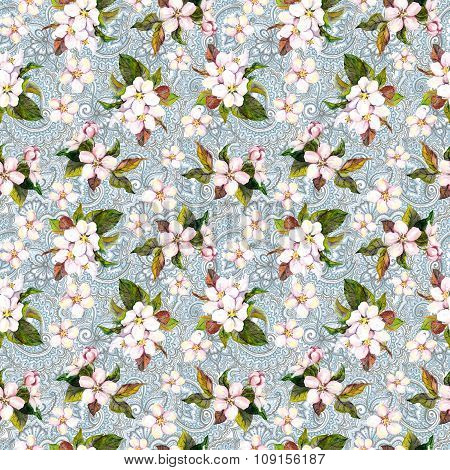 Sakura cherry, apple flowers on oriental wallpaper. Floral seamless pattern. Water color