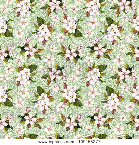 Watercolor white and pink blooming flowers on green ornate ethnic background. Floral seamless patter