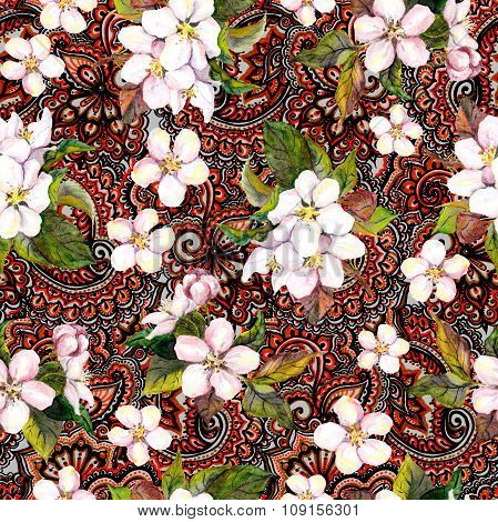 Floral repeating decorative pattern with blossom flowers. Sakura cherry, apple tree flowers on ornam