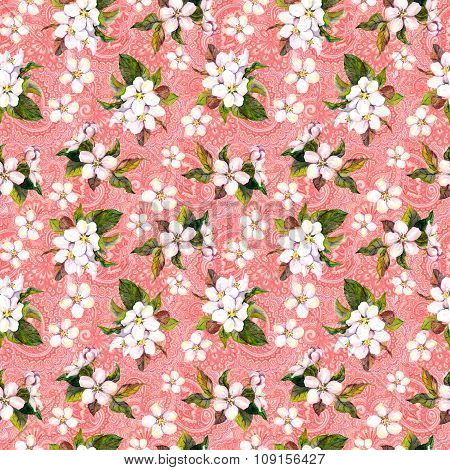 Blossom flowers on ornate pink background. Floral repeating pattern. Watercolor
