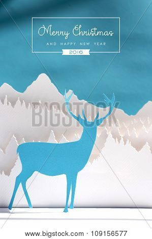 Merry Christmas New Year 2016 Paper Cut Deer Blue