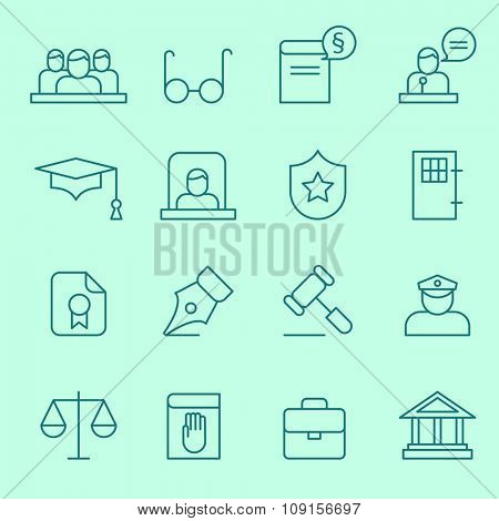 Law icons, thin line design