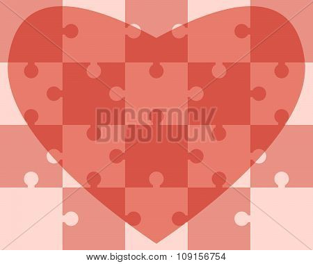 Heart Assembled Of Puzzles