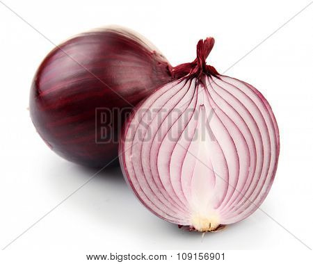 Whole and cut red onions isolated on white