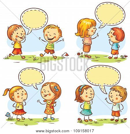 Happy Kids Talking And Showing Different Emotions, Set Of Four Scenes With Speech Bubbles