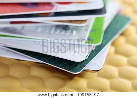 Credit cards on golden background