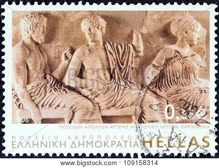 GREECE - CIRCA 2006: Stamp shows gods Poseidon, Apollo and Artemis, East Parthenon Pediment