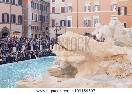 Tourists near Trevi Fountain
