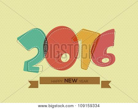 Greeting card design with colorful text 2016 on abstract background for Happy New Year celebration.
