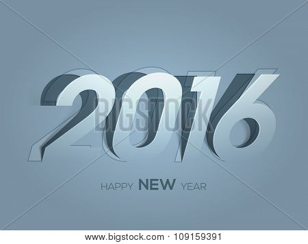 Stylish paper text 2016 on glossy background for Happy New Year celebration.