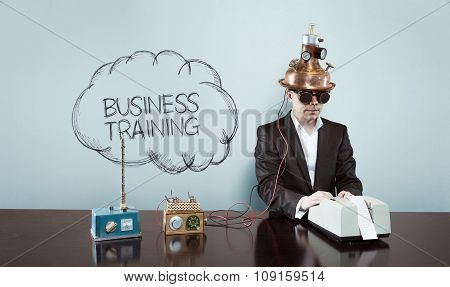 Business training concept with vintage businessman and calculator