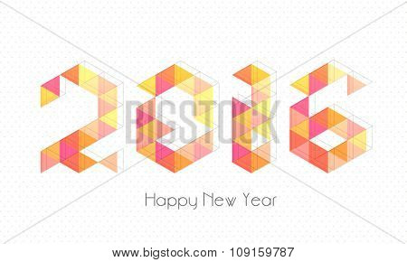 Colorful origami text 2016 for Happy New Year celebration.