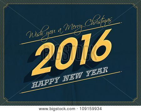 Beautiful greeting card design for Happy New Year 2016 and Merry Christmas celebration.