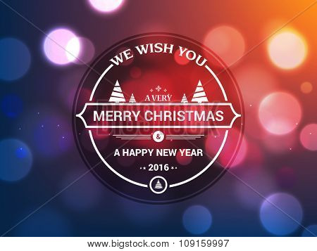 Shiny colorful greeting card design for Merry Christmas and Happy New Year 2016 celebration.