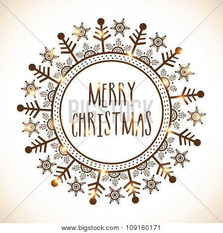 Beautiful greeting card design with shiny elegant snowflakes for Merry Christmas celebration.