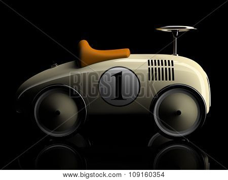 Beige retro toy car number one isolated on black background