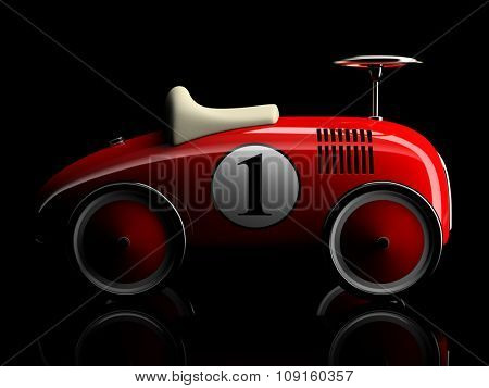 Red retro toy car number one isolated on black background