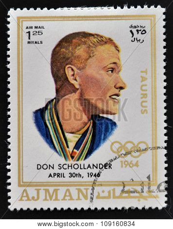 AJMAN - CIRCA 1970: A stamp printed in Ajman shows Donald Schollander circa 1970