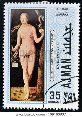 AJMAN - CIRCA 1970: a stamp printed in Ajman shows Eve Painting by Albrecht Durer circa 1970
