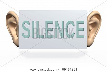 Big Ears Beside A Panel With Written Silence