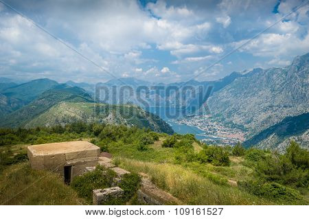 Fort Gorazda ruins and view to Bay of Kotor