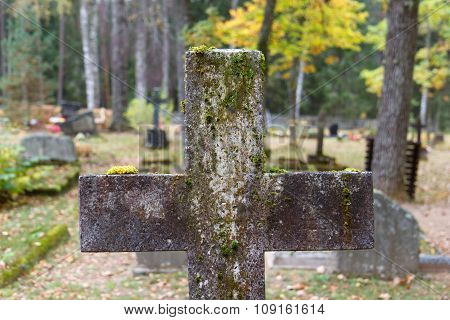 Old cross gravestone