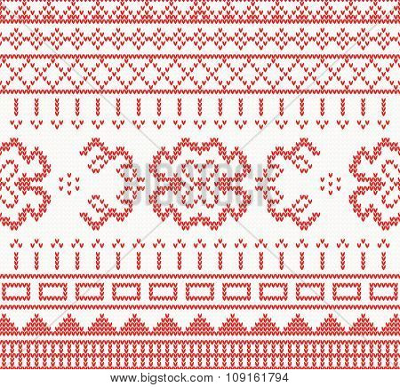 Knitted pattern with ornament. Vector illustration. Seamless pattern in red color. Christmas holiday concept for paper, fabric or web site. New year invitation card