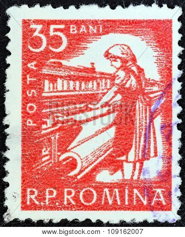 ROMANIA - CIRCA 1960: A stamp printed in Romania shows textile worker