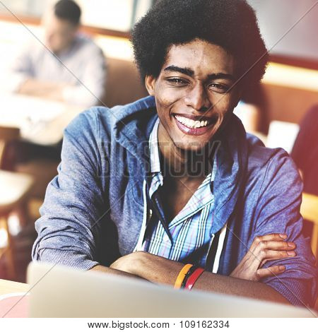 African Descent Man Student University Young Cheerful Concept