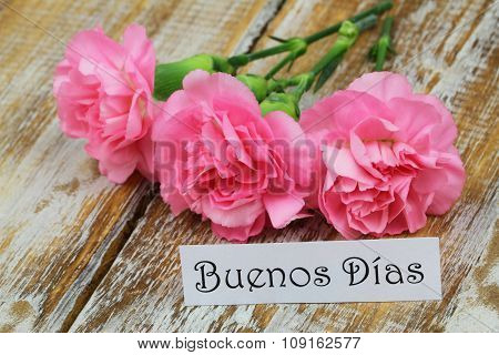 Buenos Dias (Good morning in Spanish) card with pink carnations