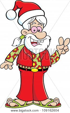 Cartoon hippie wearing a Santa hat.
