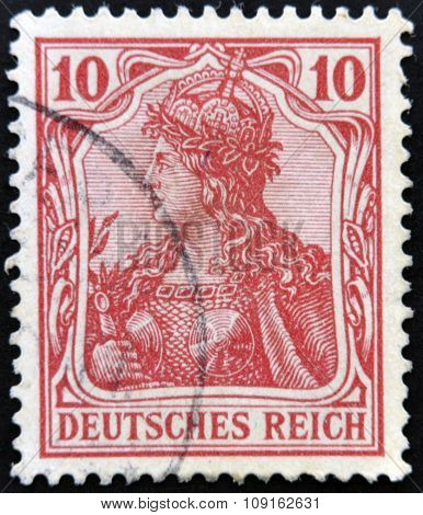 GERMANY - CIRCA 1900: A stamp printed in Germany shows Germania mythological image of the empire