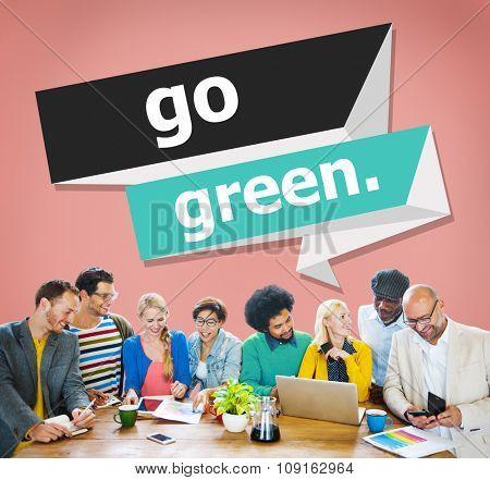 Go Green Environmental Conservation Business Concept