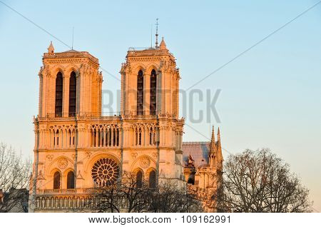 Notre-Dame cathedral at sunset in Paris, France