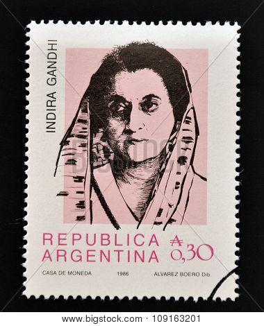ARGENTINA - CIRCA 1986: Stamp printed in Argentina shows Indira Gandhi