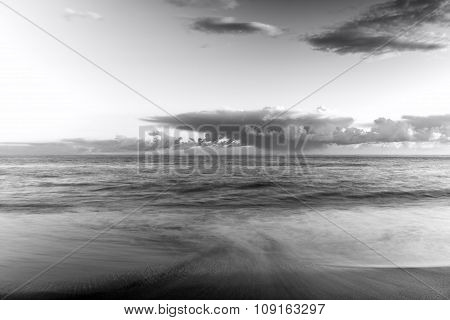 Sunset over the Ligurian Sea. Black and white photo