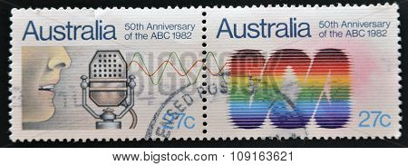 stamps printed in Australia shows 50th Anniversary of the ABC