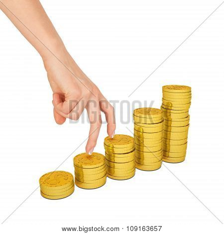 Womans hand with gold coins