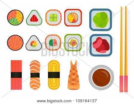 Vector sushi and rolls set isolated on white background. Sushi set icons, sushi japanese food. Seafood vector icons, sushi meal menu, traditional sushi isolted. Sushi vetor, sushi illustration