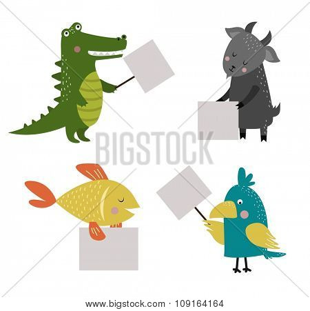 Wild animal zoo banner vector cartoon set. Wild vector animals. Jungle animals pets. Vector animals. Fish and Crocodile, parrot, goat. Sea, forest animals holding banner. Vector animals. Animals