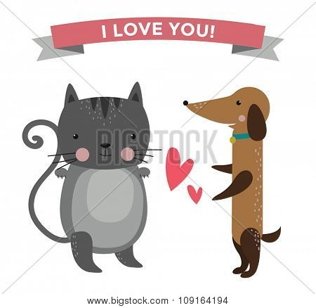 Cute cartoon animals couples fall in love banner vector illustration. Vector animals wedding. Different animals like people love togetherness concept. Vector animals, pets, wild. Cat, dog , heart