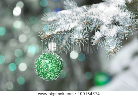Christmas Decoration Ball Hanging On Fir Branch