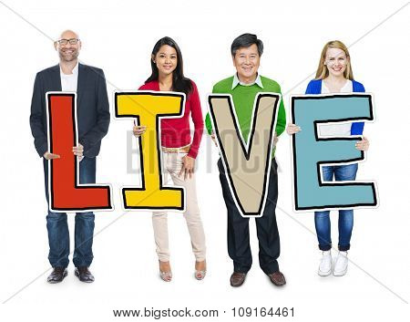 Group of Diverse People Holding Live Concept