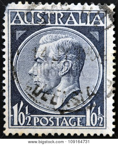 AUSTRALIA - CIRCA 1952: A stamp printed in Australia shows King George VI circa 1952