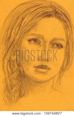 Pencil sketch portrait of a beautiful girl